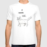 Neurotic Cat Mens Fitted Tee White SMALL