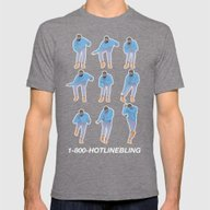 Hotline Bling (blue) Mens Fitted Tee Tri-Grey LARGE