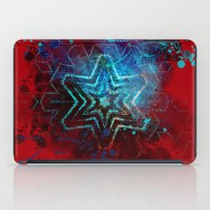Glowing abstract blue star on blood red iPad Case