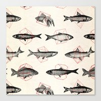 Fishes In Geometrics (Re… Canvas Print