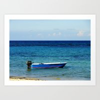 Blue Boat Red Stripe In … Art Print