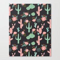 Cactus florals dark charcoal colorful trendy desert southwest house plants cacti succulents pattern Canvas Print