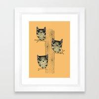 Owls (orange) Framed Art Print