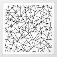 Abstract Heart Black on White Art Print