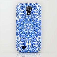 Cobalt Blue & China White Folk Art Pattern Slim Case Galaxy S4