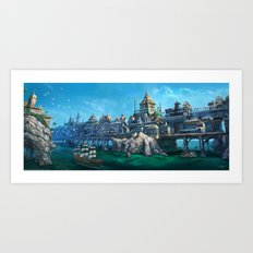 -City on the Big Bridge- Art Print