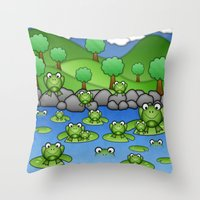 Froggies!  Throw Pillow