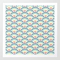 rainbowaves pattern (light) Art Print
