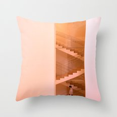 Day at the museum - stairs Throw Pillow