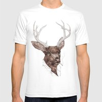 Smoking Buck Mens Fitted Tee White SMALL