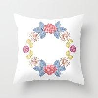 Hand Drawn Floral Wreath… Throw Pillow