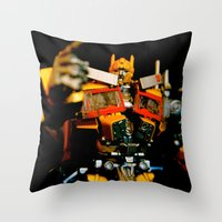 Golden Optimus Throw Pillow