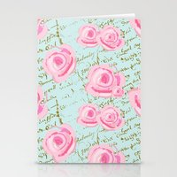 Pink  Roes and French Script Stationery Cards