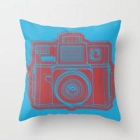 I Still Shoot Film Holga Logo - Blue & Red Throw Pillow