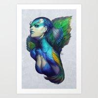peacock Art Prints featuring Peacock Queen by Artgerm™