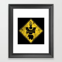 Dragon's Lair Warning Sign Framed Art Print