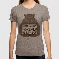 Hibernating Forever Womens Fitted Tee Tri-Coffee SMALL