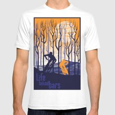 retro mountain bike poster, Life behind bars White Mens Fitted Tee SMALL