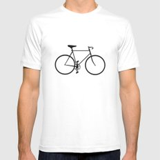 Single Speed White Mens Fitted Tee SMALL