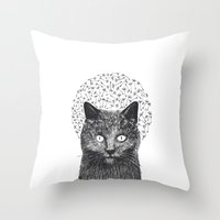 Dandelion black cat Throw Pillow