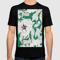 green peonies Mens Fitted Tee Black SMALL