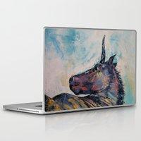 unicorn Laptop & iPad Skins featuring Dark Unicorn by Michael Creese