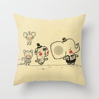 Forest Friends \ Cute Animals March\ elephant cats dogs  Throw Pillow