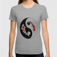 Koi Kohaku and Taisho Sanke Yin Yang Womens Fitted Tee Athletic Grey SMALL
