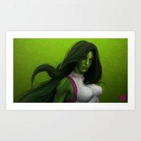 GREEN HAIR, GREEN EYES, HYPNOTIZE Art Print