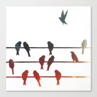 Birds On A Wire (2) Canvas Print