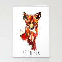 Cute Little Red Fox Wate… Stationery Cards