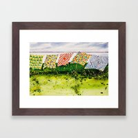 Quilts Along The Bay Framed Art Print