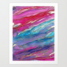 AGATE MAGIC PinkAqua Red Lavender, Marble Geode Natural Stone Inspired Watercolor Abstract Painting Art Print