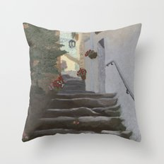 Italian Street and Stairs  Throw Pillow