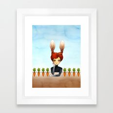 the rabbit girl with planted carrots Framed Art Print