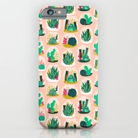 iPhone Cases featuring Terrariums - Cute little planters for succulents in repeat pattern by Andrea Lauren by Andrea Lauren Design