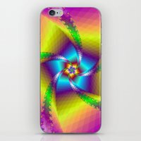Whirligig in Yellow Blue and Green iPhone & iPod Skin