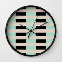 Tan Black Mint Checkerboard Wall Clock