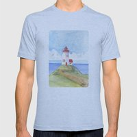 Peaceful Lighthouse Mens Fitted Tee Athletic Blue SMALL