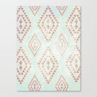 mint & coral tribal pattern Canvas Print
