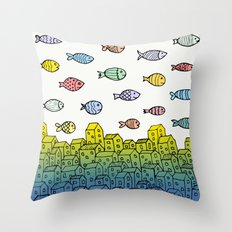 Underwater village II Throw Pillow