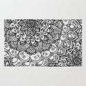Shades of Grey - mono floral doodle Rug
