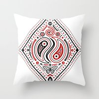 83 Drops - Diamonds (Red & Black) Throw Pillow