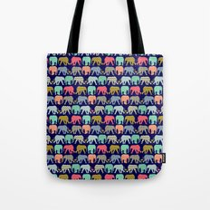 baby elephants and flamingos navy Tote Bag