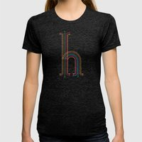 H like H Womens Fitted Tee Tri-Black SMALL