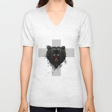 bear cross Unisex V-Neck