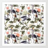 Crane & Lotus Art Print