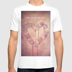 Love is in the air.. SMALL White Mens Fitted Tee
