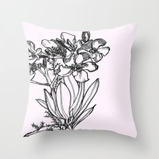 flower in black ink Throw Pillow