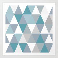 Rombi light blue Art Print